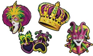 Mardi Gras Cutouts 4ct