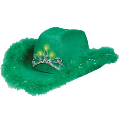 Light-Up Marabou-Trimmed Cowgirl Hat