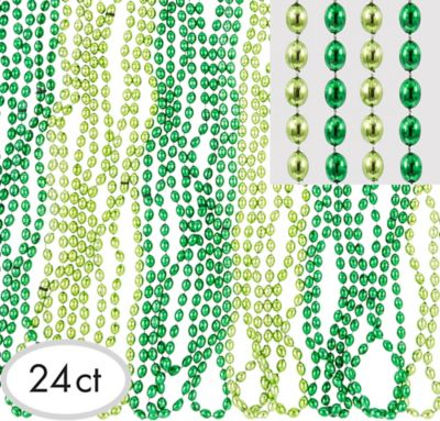 St. Patrick's Day Clear Green Bead Necklaces 24ct
