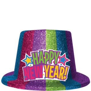 Glitter Colorful New Year's Top Hat
