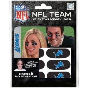 Detroit Lions Eye Black Stickers 6ct