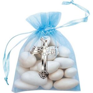 Blue Organza Favor Bags with Cross 12ct