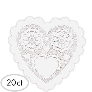 White Heart Doilies 20ct