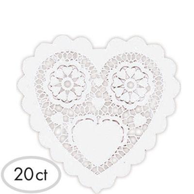 White Heart Doilies 20ct