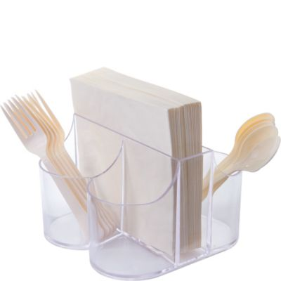 CLEAR Plastic Cutlery Caddy