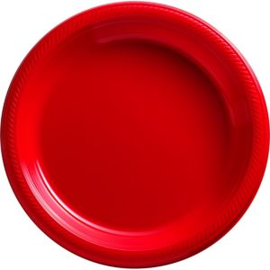 Red Plastic Dinner Plates 50ct