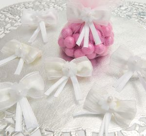 Sheer White Flower Bows Favor Accents