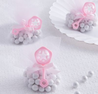 Pink Rattle Baby Shower Favor Charms 8ct