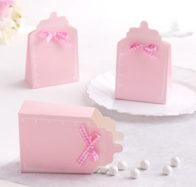 Pink Bottle Baby Shower Favor Box Kit 24ct
