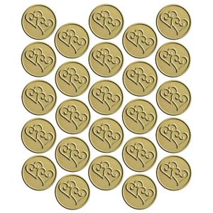 Gold Heart Metallic Envelope Seals 25ct