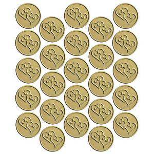Gold Heart Metallic Envelope Seals 25ct