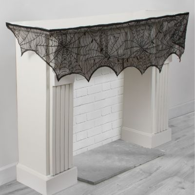 Black Lace Cobweb Mantel Scarf