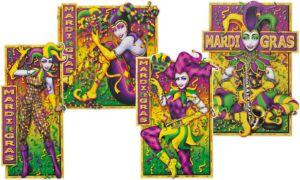 Mardi Gras Jesters Cutouts 4ct
