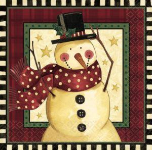 Cozy Snowman Lunch Napkins 16ct