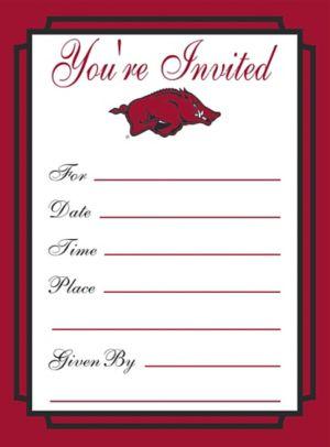 Arkansas Razorbacks Invitations 8ct