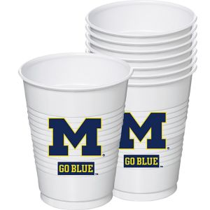 Michigan Wolverines Plastic Cups 8ct