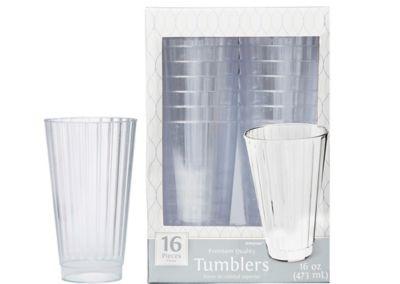 Large CLEAR Premium Plastic Tumblers 16ct