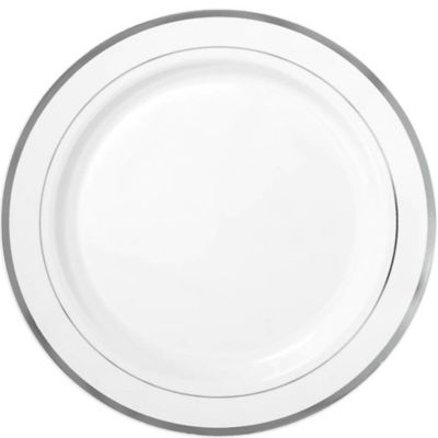 White Silver Trimmed Premium Plastic Dinner Plates 10ct