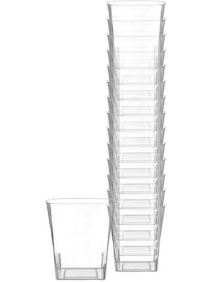 Small CLEAR Premium Plastic Square Tumblers 14ct