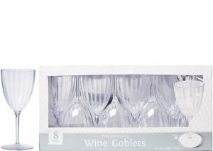 CLEAR Premium Plastic Wine Glasses 8ct