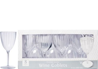 CLEAR Premium Plastic Wine Goblets 8ct