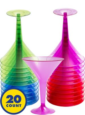 Big Party Pack Jewel Tone Plastic Martini Glasses 20ct