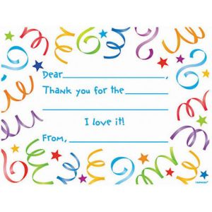 Streamer Fill In Thank You Notes 8ct