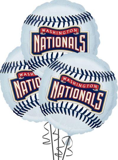 Washington Nationals Balloons 18in 3ct
