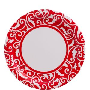 Red Ornamental Scroll Lunch Plates 8ct