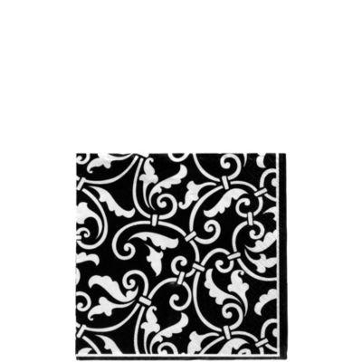 Black Ornamental Scroll Beverage Napkins 16ct