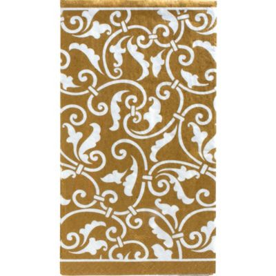 Gold Ornamental Scroll Guest Towels 16ct