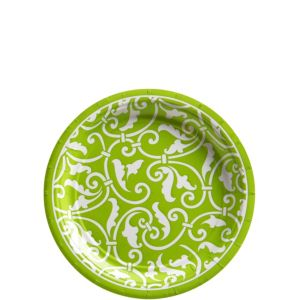 Kiwi Ornamental Scroll Dessert Plates 8ct