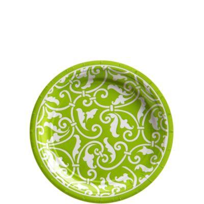 Kiwi Ornamental Scroll Dessert Plates 8ct