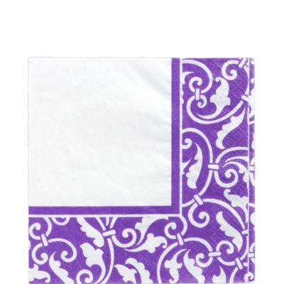 Purple Ornamental Scroll Lunch Napkins 16ct