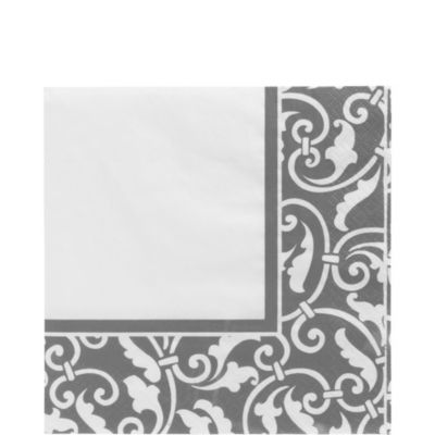 Silver Ornamental Scroll Lunch Napkins 16ct