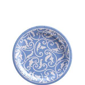 Pastel Blue Ornamental Scroll Dessert Plates 8ct