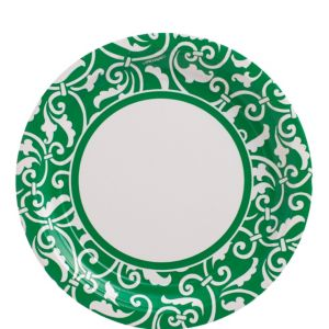 Festive Green Ornamental Scroll Lunch Plates 8ct