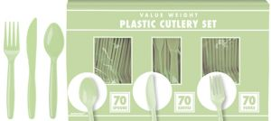 Big Party Pack Leaf Green Plastic Cutlery Set 210ct
