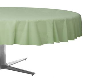 Leaf Green Plastic Round Table Cover