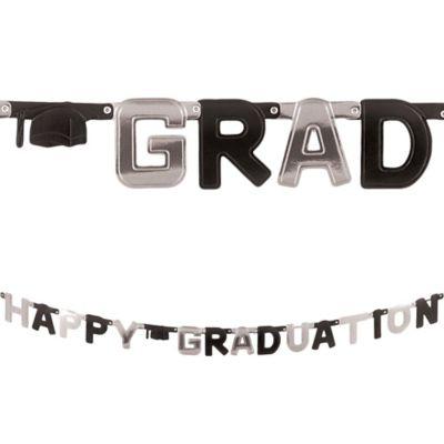 Black & Silver Happy Graduation Letter Banner
