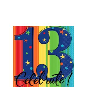 A Year to Celebrate 13th Birthday Beverage Napkins 16ct