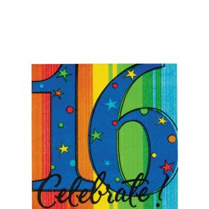 A Year to Celebrate 16th Birthday Beverage Napkins 16ct