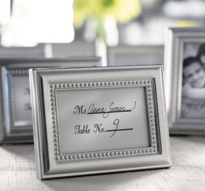 Silver Beaded Photo Frame Place Card Holder