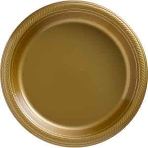 Big Party Pack Gold Plastic Dinner Plates 50ct