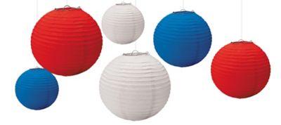 Red, White & Blue Lanterns 6ct
