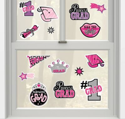 Princess Grad Vinyl Window Decorations 15ct
