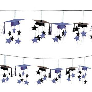 Purple 3D Grad Cap Graduation Garland