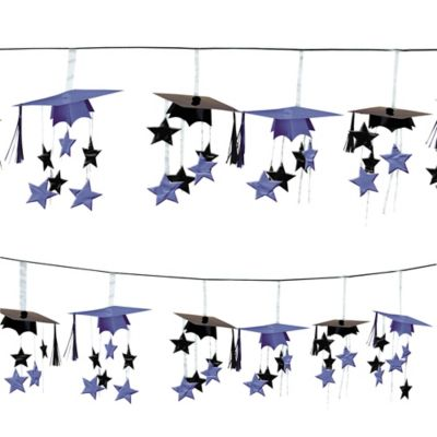 Purple 3D Grad Cap Graduation Garland