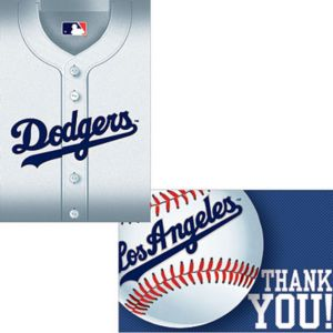 Los Angeles Dodgers Invitations & Thank You Notes for 8