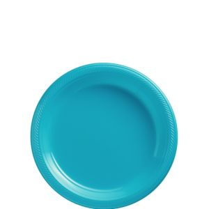 Big Party Pack Caribbean Blue Plastic Dessert Plates 50ct